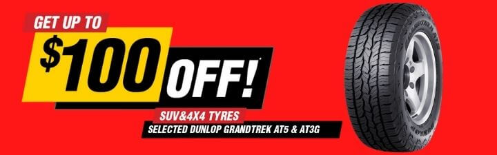 Get up to $100 off selected SUV & 4x4 tyres