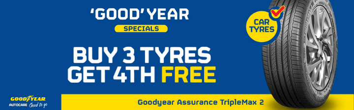 Goodyear Buy 3 Tyres Get 4 Free for the Goodyear Assurance Triplemax 2