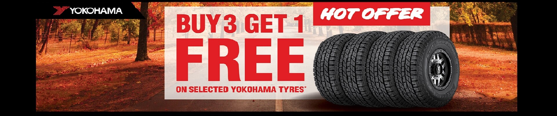 Buy 3 get 1 free on selected yokohama tyres