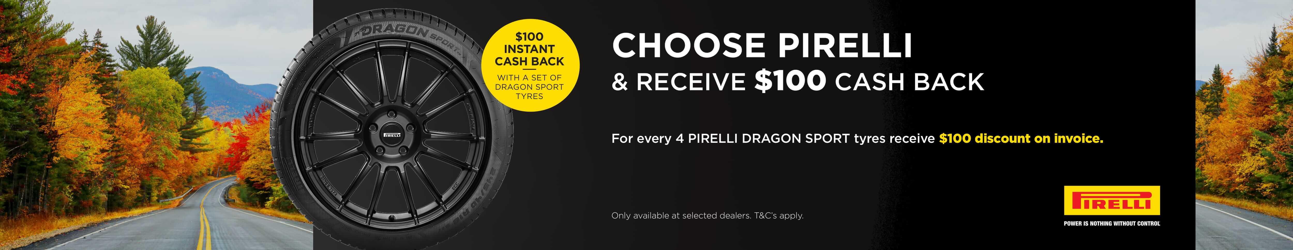 Choose Pirelli and receive $100 cash back
