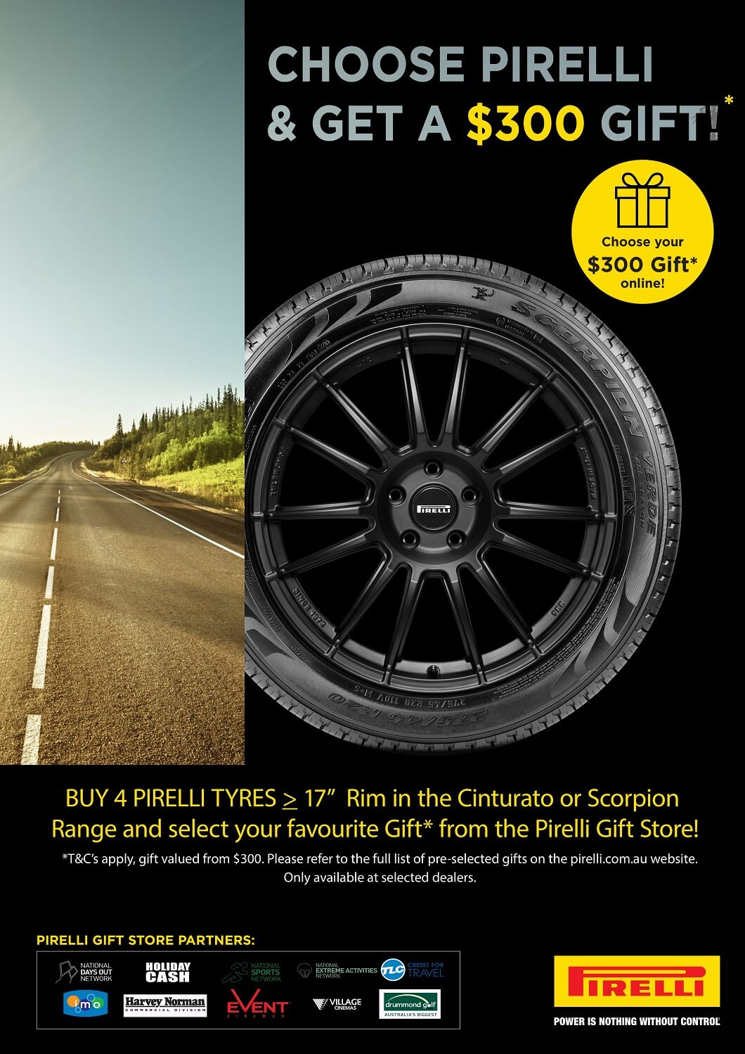 Choose Pirelli and get a $300 gift!