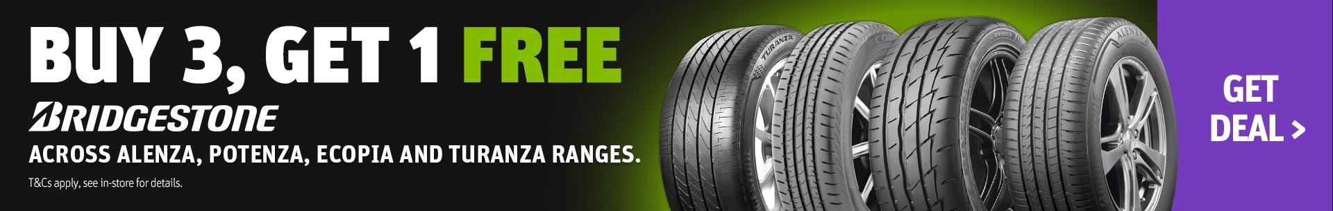 Buy 3 Get 1 Free Bridgestone Tyres