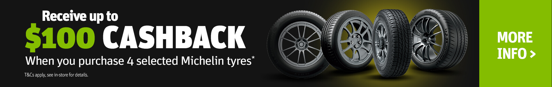 Michelin Up To $100 Cashback Promotion Banner
