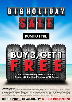 Buy 3 Get 1 Free on Kumho Ecowing KH27, Ecsta PA51, Crugen KL33 or Road Venture AT51 Tyres.