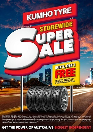 Buy 3, Get 1 Free on Kumho Ecowing KH27, Ecsta PA51, Crugen KL33 & Road Venture AT51 Tyres.