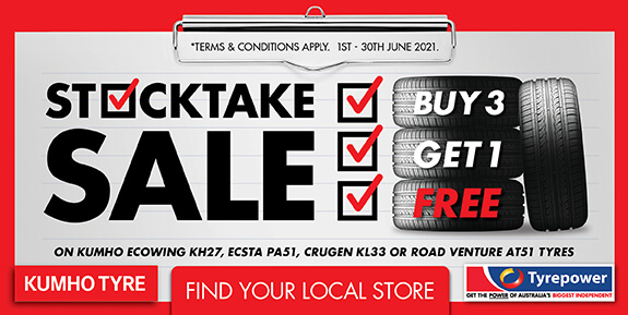 Stocktake Sale on Kumho Ecowing KH27, Ecsta PA51, Crugen KL33 or Road Venture AT51 tyres
