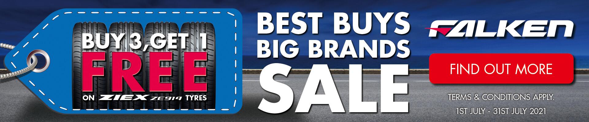 Best Buys Big Brands Sale - Buy 3, Get 1 Free on ZIEX ZE914 Tyres