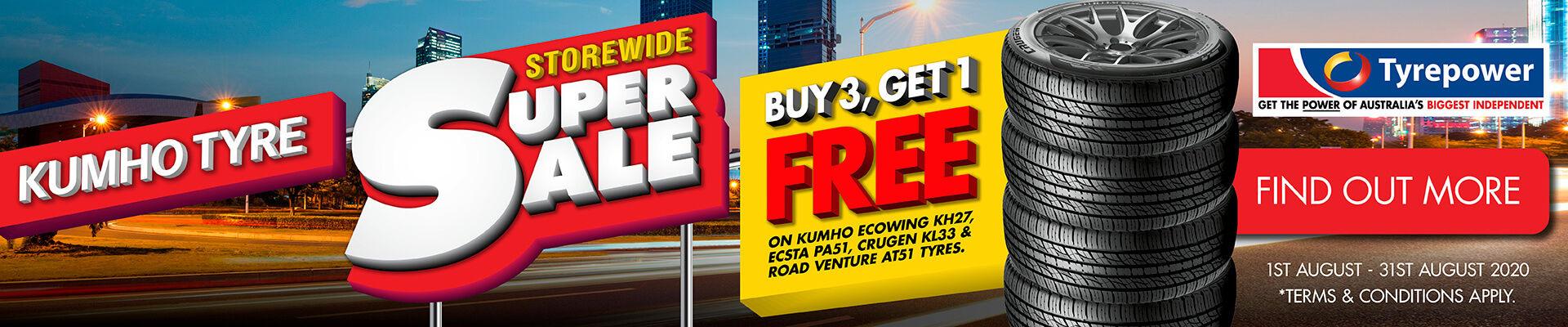 Kumho Tyres - Buy 3 Get 1 Free Primary Special