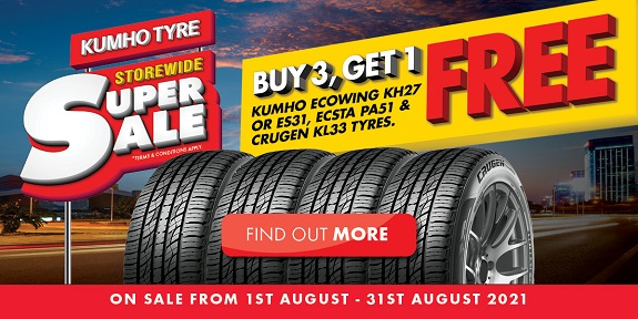 Buy 3, Get 1 Free on Kumho Ecowing KH27 or DS31, ECSTA PA51 & Crugen KL33 tyres.