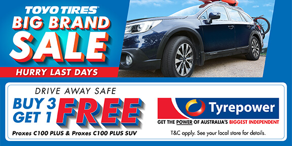 Toyo Tires Big Brand Sale - Buy 3 get 1 Free from Proxes C100 Plus & Proxes C100 Plus SUV