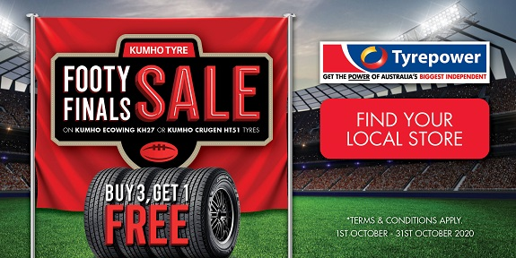 Buy 3 Get 1 Free Kumho Tyre Footy Finals Sale on Kumho Ecowing KH27 or Kumho Crugen HT51 Tyres