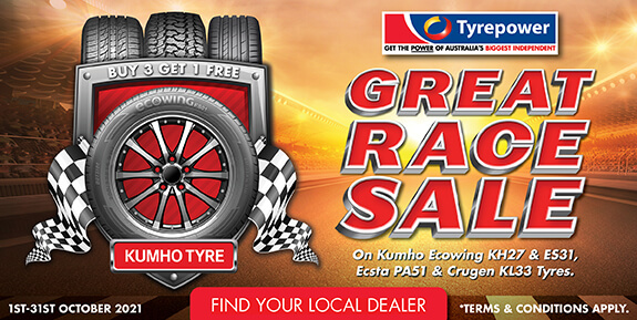 Great Race Sale on Kumho Ecowing KH27 & ES31, Ecsta PA51 & Crugen KL33 Tyres.